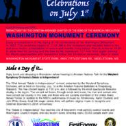 Washington Monument Commemorative Ceremony July 1st at 11am