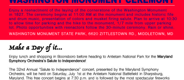Washington Monument Commemorative Ceremony July 1st at 11am