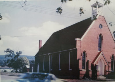 St. James Catholic church before reconstruction and before completion of Ford Avenue