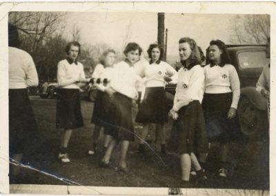 "Girls Scouts - written on back of picture girls left to right- Margaret LeVan, June Clopper, Bettie Beeler, Margaret ""Peggy"" Smith, Eula Huffer, Nancy Bast"