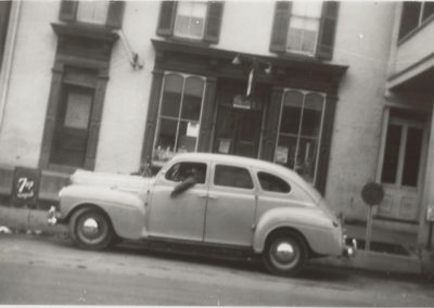 Car in front of 7 N. Main Street.  Building currently Stone Werks and next door to Inn Boonsboro