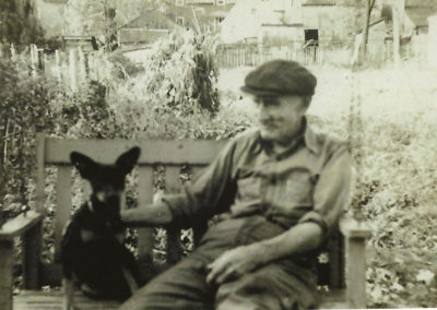 Photo of William Itnyre and unknown dog. Probably around late 1930s