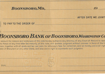 Blank Check from Bank of Boonsboro
