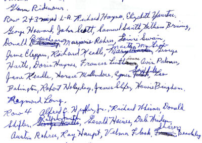 Graduating Class of B.H.S.  1943 names as recalled by Richard Haines see related photo